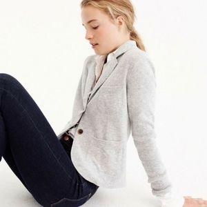 M J. Crew Gray Cropped Sweater Blazer